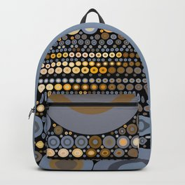 WRANGLE - indigo denim blue black tan cream circle abstract design Backpack