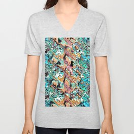 Colorful Distortions Abstract Unisex V-Neck