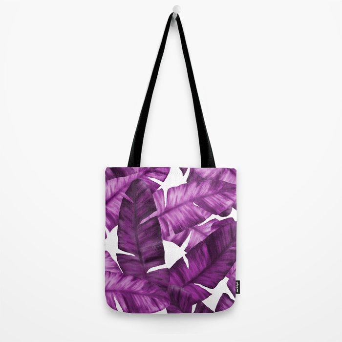 Pink Tropical Banana Leaves Pattern Tote Bag