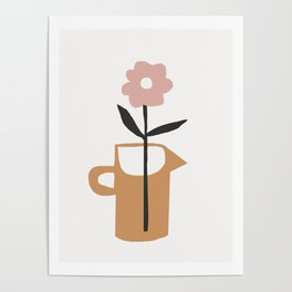 Aella - earthtones minimalist vase with florals simple art print for home decor Poster