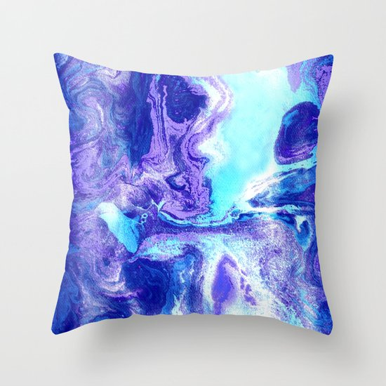 Swirling Marble in Aqua, Purple & Royal Blue Throw Pillow