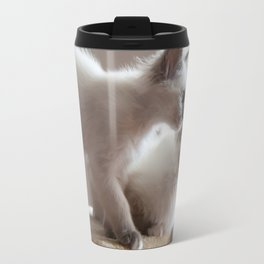 Portrait of two white long hair birman cats with blue eyes. Travel Mug