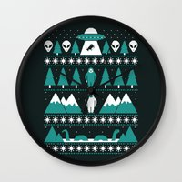 xmas Wall Clocks featuring Paranormal Xmas by Teo Zirinis