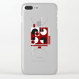 Geometric/Red-White-Black  1 Clear iPhone Case