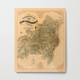 Map Of Saint Louis 1857 Metal Print