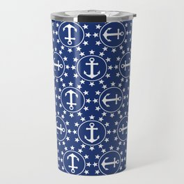 White Anchors & Stars Pattern on Navy Blue Travel Mug