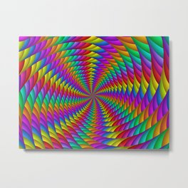 Psychedelic Rainbow Spiral Metal Print