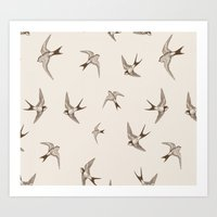 birdy Art Prints featuring birdy by LA creation