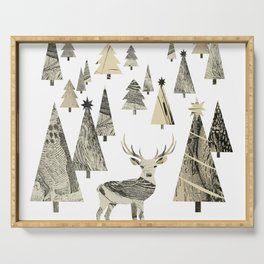 Winter Woods, collage Serving Tray