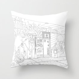 A Shop in Miami Wynwood - Line Art Throw Pillow