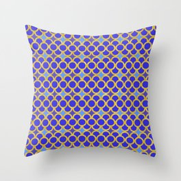 Blue Gold Scales Throw Pillow