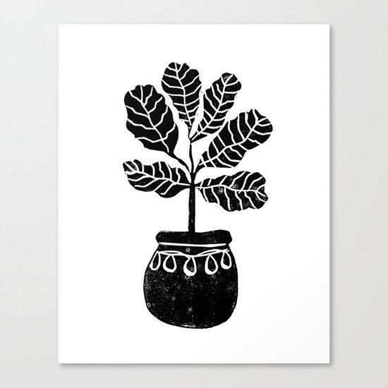 Fiddle Leaf Fig tree linocut black and white minimal modern lino carving monochromatic trendy art Canvas Print