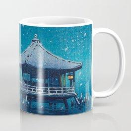Tsuchiya Kôitsu Japanese Woodblock Vintage Print Blue Winter Snow Pagoda On Lake Coffee Mug