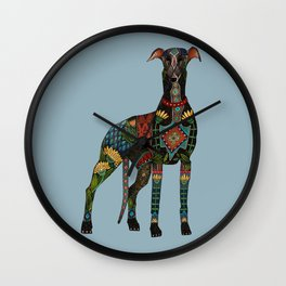greyhound azure blue Wall Clock
