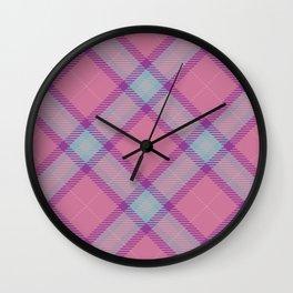 Pink Blue Tartan Texture Wall Clock