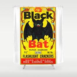 Black Bat Vintage Firecrackers Shower Curtain