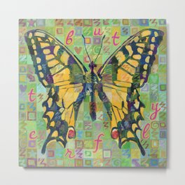 Butterfly (Swallowtail On Green) Metal Print