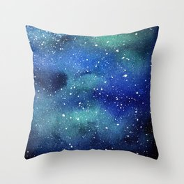 Galaxy Space Sky Watercolor Cosmic Art Throw Pillow