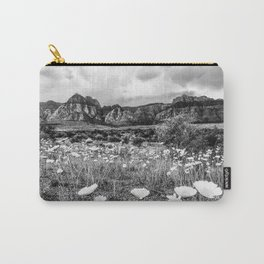 Wildflower Bloom | Black and White Vintage Red Rocks Las Vegas National Park Floral Landscape Carry-All Pouch