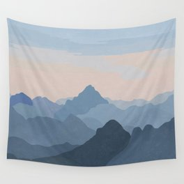 Pastel Sunset over Blue Mountains Wall Tapestry