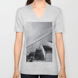 wood stairway with wood background in black and white Unisex V-Neck