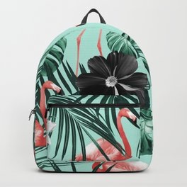 Tropical Flamingo Flower Jungle #3 #tropical #decor #art #society6 Backpack