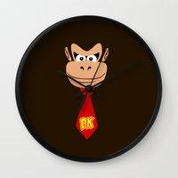 donkey kong Wall Clocks featuring Donkey Kong Face Vector by SOULTHROW