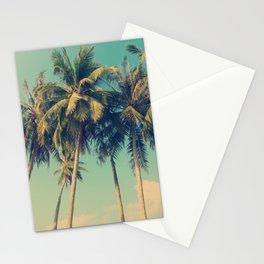 Aloha! Retro palm tree on the beach - summer vibes vintage illustration Stationery Cards