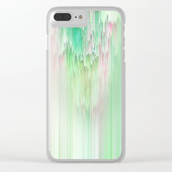 Abstract Cascade Glitch 1.Green Clear iPhone Case