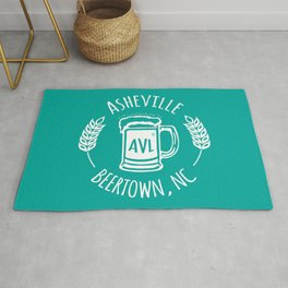 Asheville Beer - AVL 3 White on Green Rug
