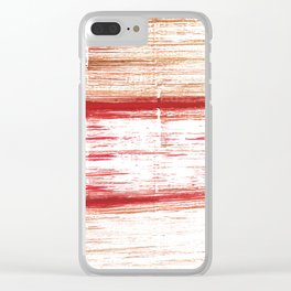 Red striped painting Clear iPhone Case