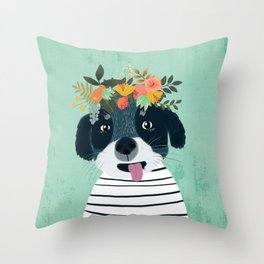 PUPPY DOGS WITH FLOWERS Throw Pillow