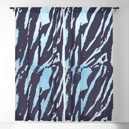 Tiger Blue Watercolor Gradient Blackout Curtain