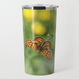 Small pearl-bordered fritillary and buttercups Travel Mug