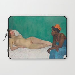Reclining Nude -  La Blanche et La Noir (The White and the Black of Night) by Félix Vallotton Laptop Sleeve