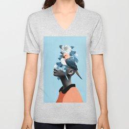 Girl with parrot Unisex V-Neck
