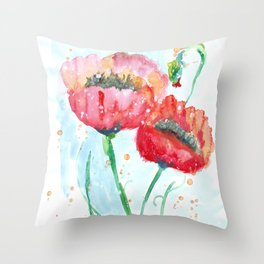 Poppy flowers no 4 Summer illustration watercolor painting Throw Pillow