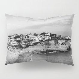 Carvoeiro town and beach in Lagoa, Algarve, Portugal. Black and White. Pillow Sham