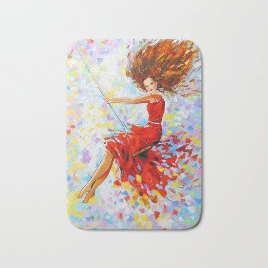 Girl on the swing Bath Mat