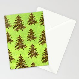 Sparkly Gold Christmas tree on abstract green paper Stationery Cards