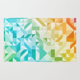 Colorful Geometric Pattern Saturated Rainbow Pattern Design (Red Pink Orange Yellow Green Blue) Rug