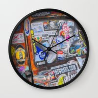 stickers Wall Clocks featuring Stickers by Glenn Designs