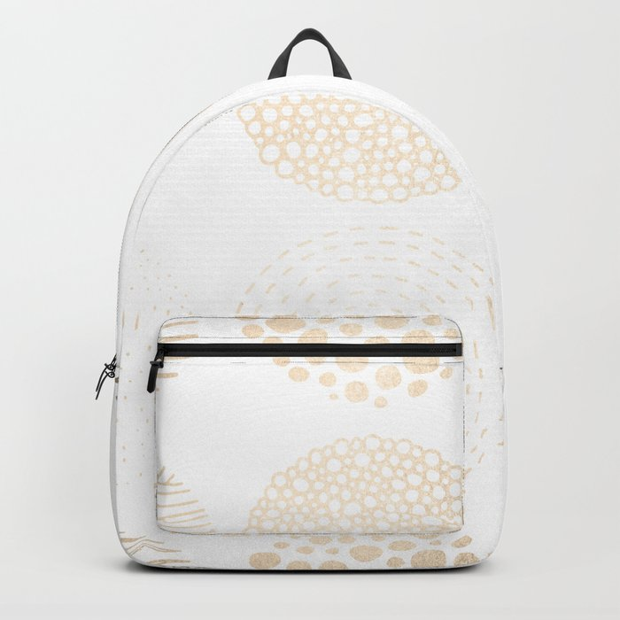 Simply Mod Circles in White Gold Sands on White Backpack