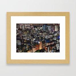 Tokyo Buildings at Night Framed Art Print