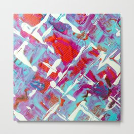 Vibrant Blue White and Red Abstract Art Metal Print