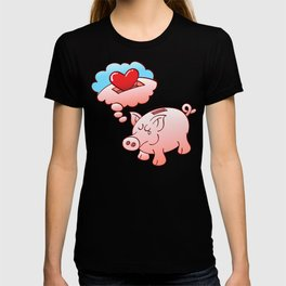 Piggy Bank Daydreaming of Hearts instead of Coins T-shirt