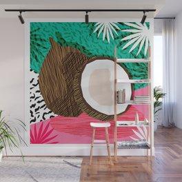 Bada Bing - memphis throwback tropical coconuts food vegan nature abstract illo neon 1980s 80s style Wall Mural