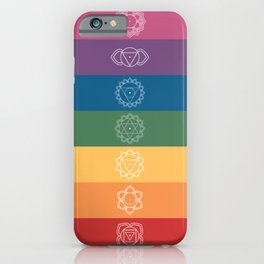 Seven Chakra Mandalas on a Striped Rainbow Color Background iPhone Case