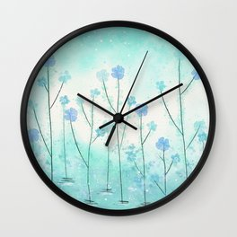 Turquoise Field of Flowers Wall Clock