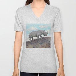 Black Rhino - African Safari Wildlife  Unisex V-Neck